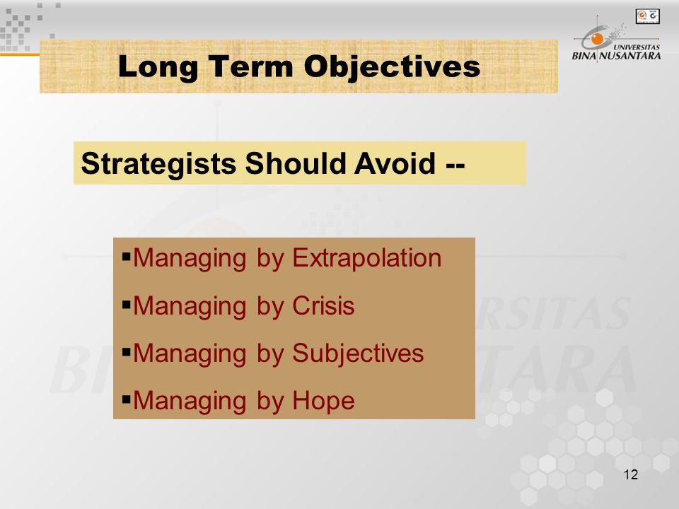 Strategists Should Avoid --
