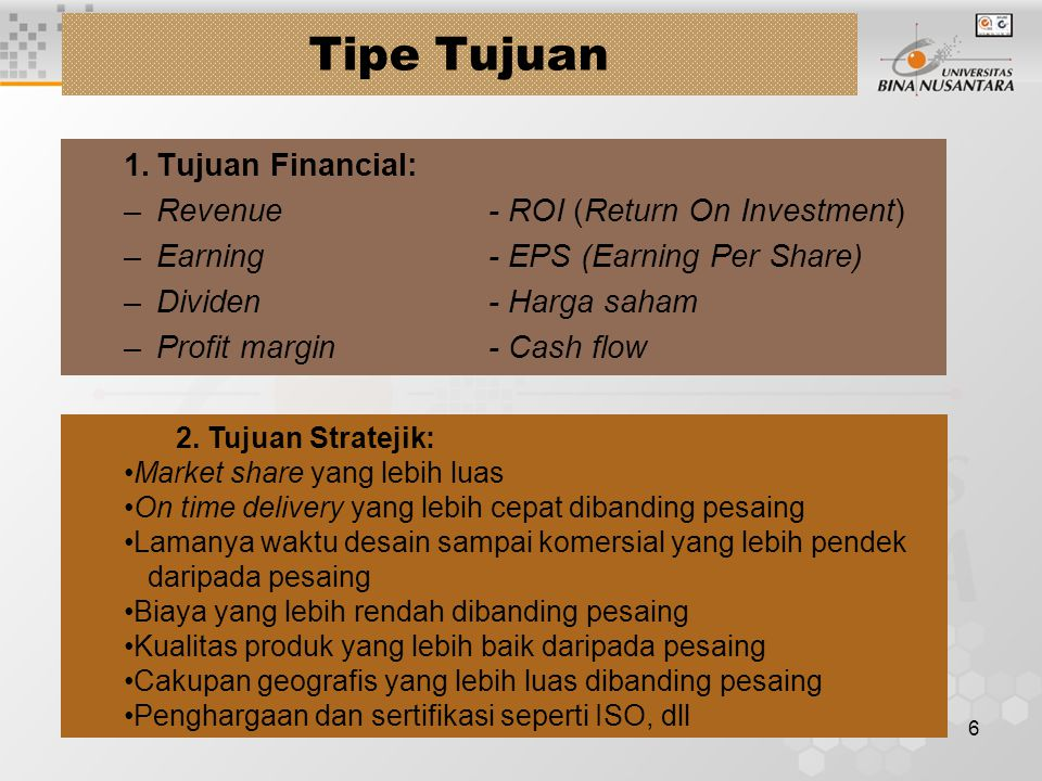 Tipe Tujuan 1. Tujuan Financial: Revenue - ROI (Return On Investment)
