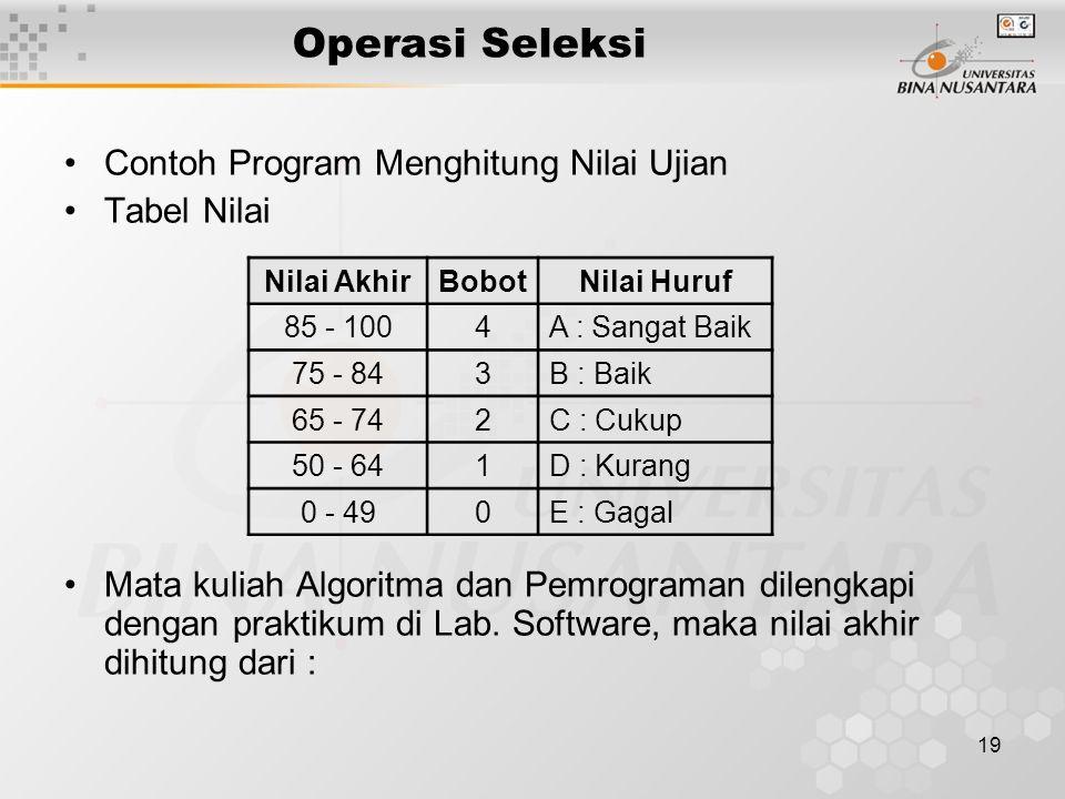 Operasi Seleksi Contoh Program Menghitung Nilai Ujian Tabel Nilai