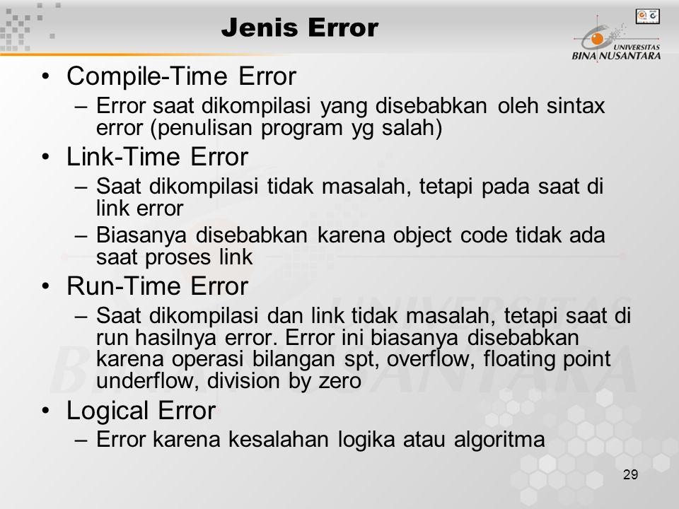 Jenis Error Compile-Time Error Link-Time Error Run-Time Error