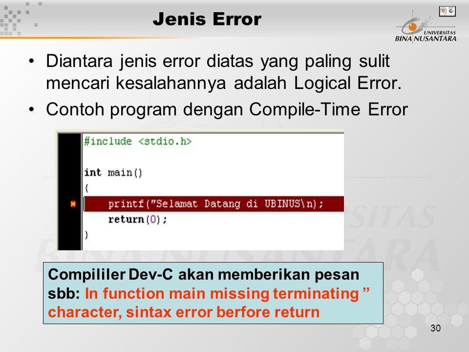 Contoh program dengan Compile-Time Error