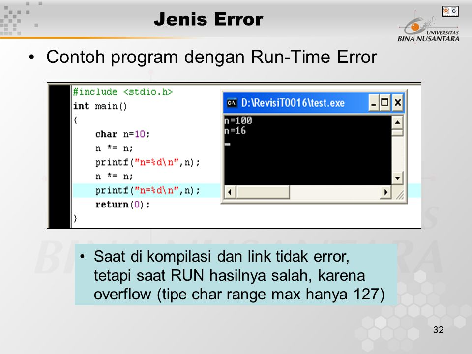 Contoh program dengan Run-Time Error