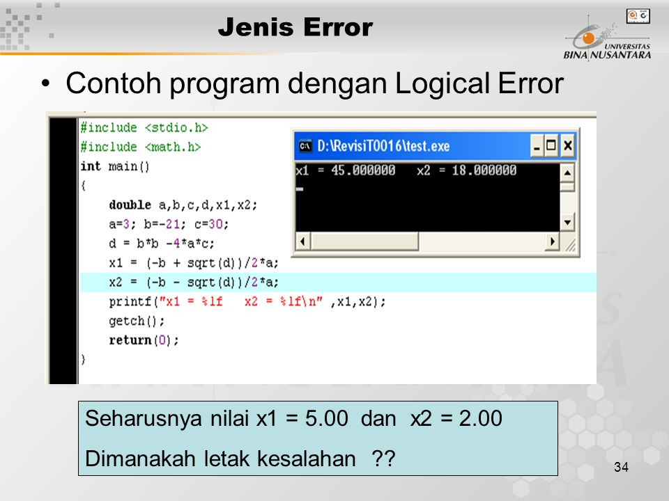 Contoh program dengan Logical Error