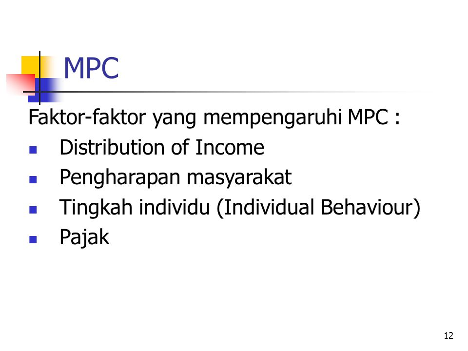 MPC Faktor-faktor yang mempengaruhi MPC : Distribution of Income