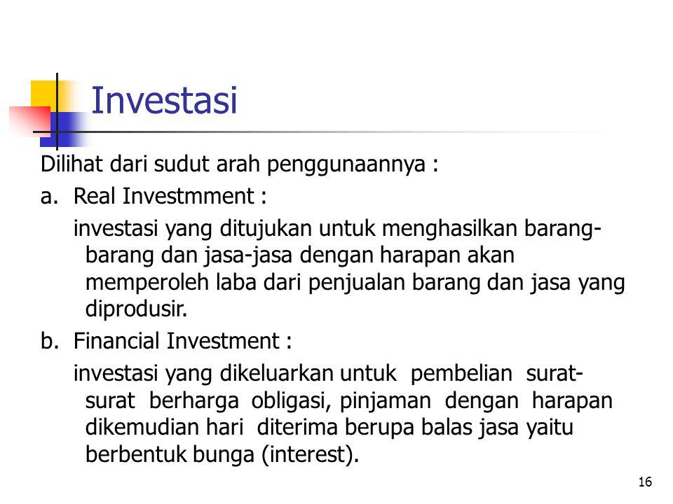 Investasi Dilihat dari sudut arah penggunaannya :