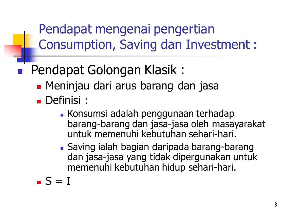 Pendapat mengenai pengertian Consumption, Saving dan Investment :