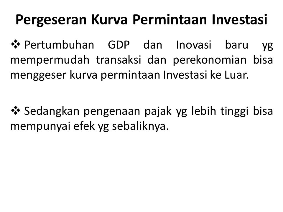 Pergeseran Kurva Permintaan Investasi