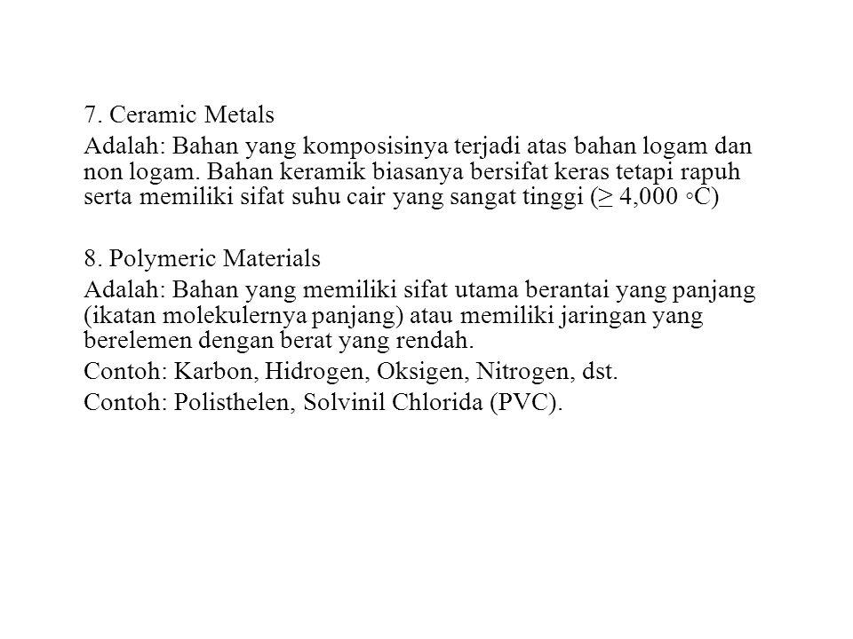 7. Ceramic Metals Adalah: Bahan yang komposisinya terjadi atas bahan logam dan non logam.