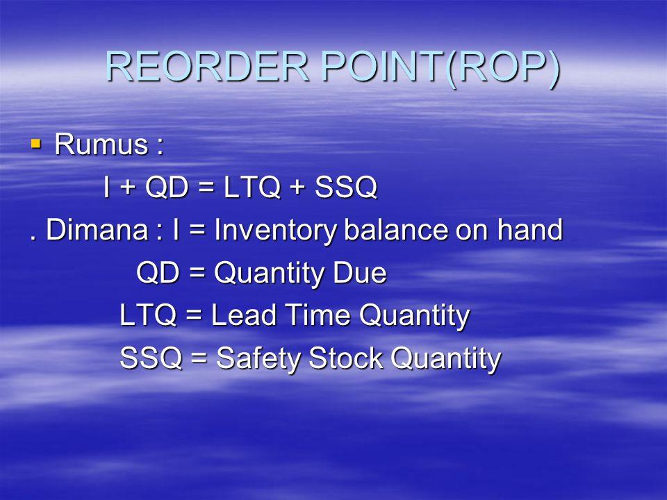 REORDER POINT(ROP) Rumus : I + QD = LTQ + SSQ