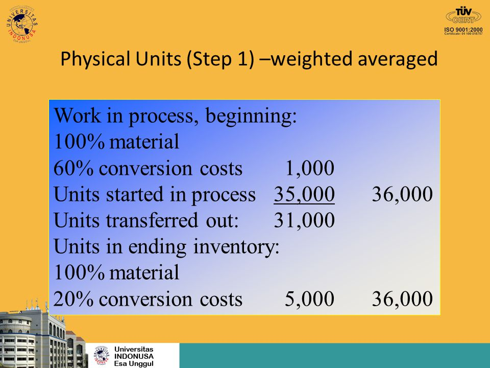Physical Units (Step 1) –weighted averaged
