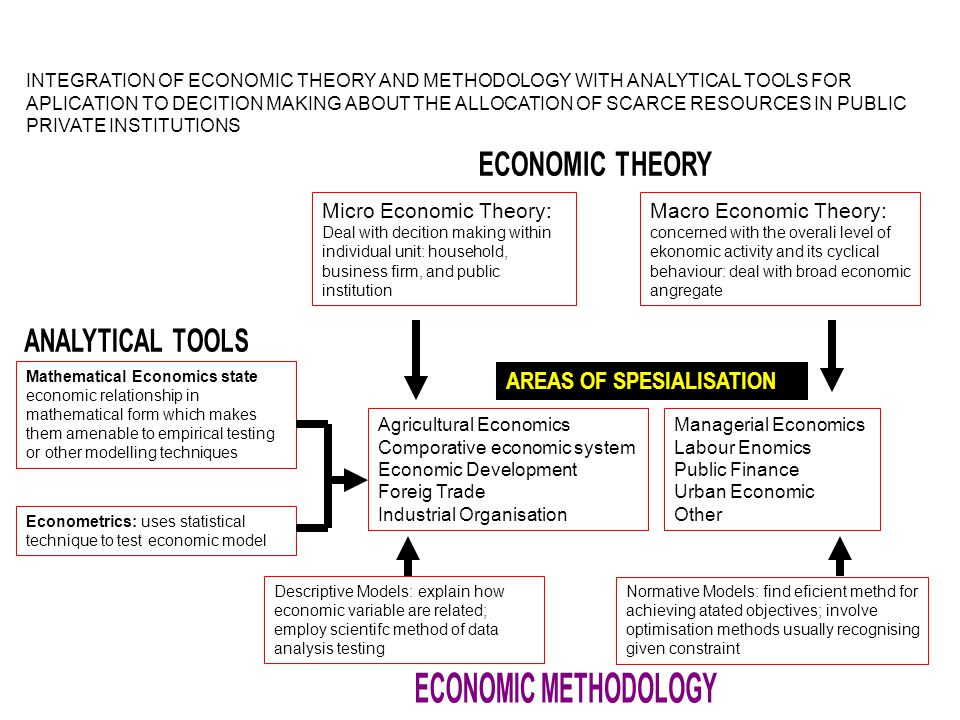 ECONOMIC METHODOLOGY AREAS OF SPESIALISATION ECONOMIC THEORY