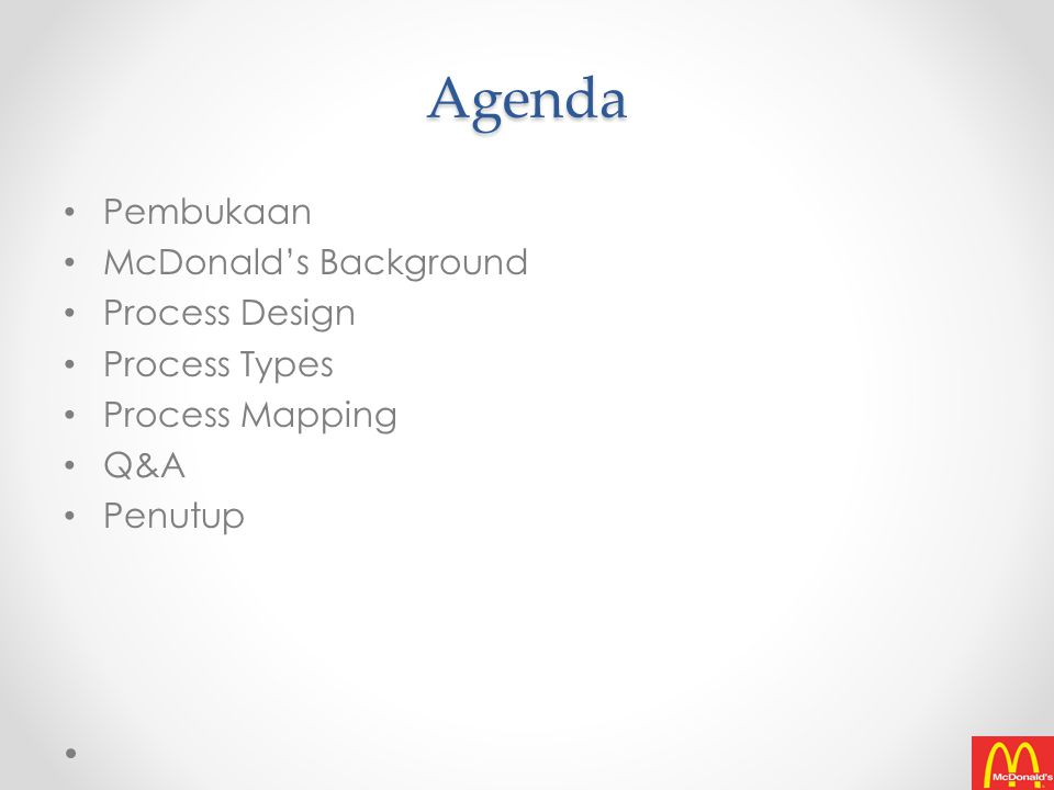 Agenda Pembukaan McDonald's Background Process Design Process Types