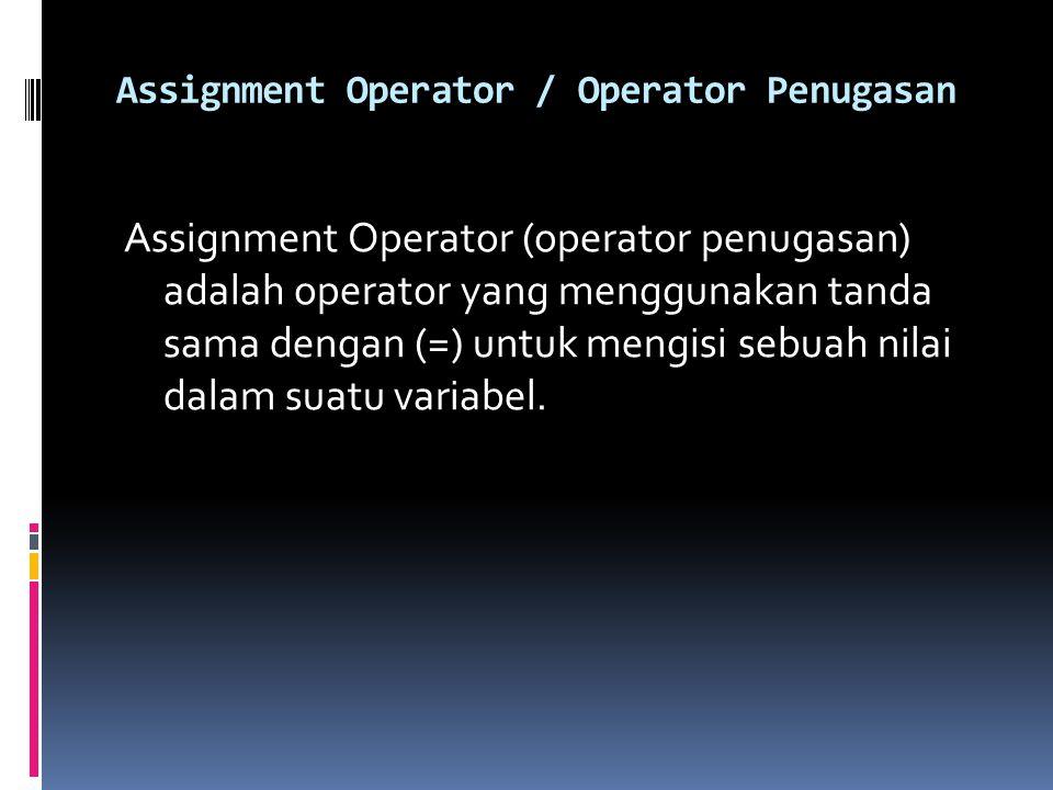 Assignment Operator / Operator Penugasan