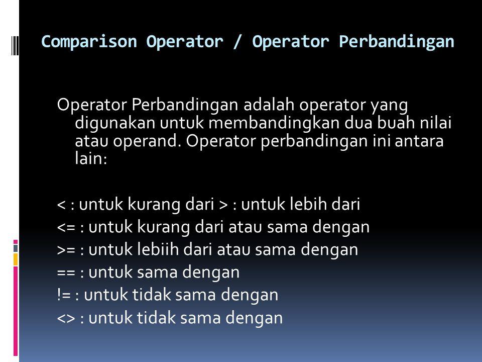 Comparison Operator / Operator Perbandingan