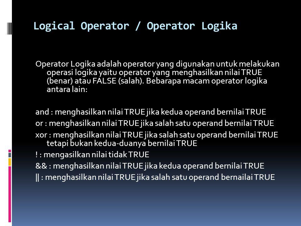 Logical Operator / Operator Logika