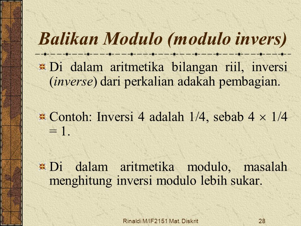 Balikan Modulo (modulo invers)