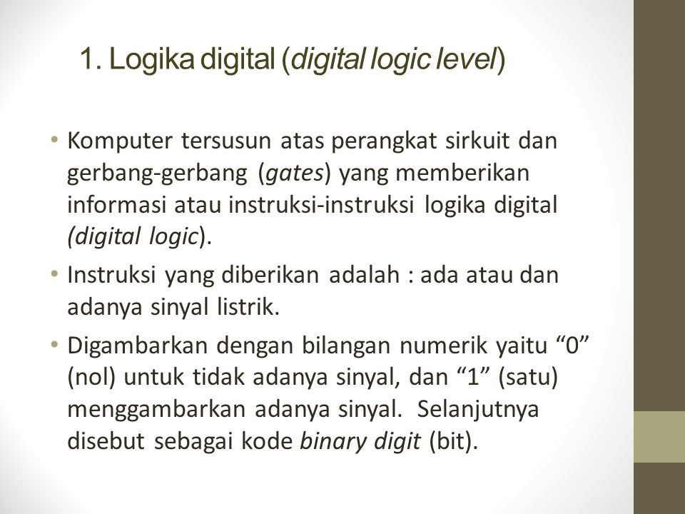 1. Logika digital (digital logic level)