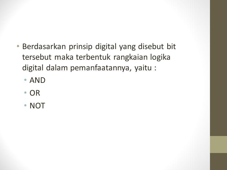 Berdasarkan prinsip digital yang disebut bit tersebut maka terbentuk rangkaian logika digital dalam pemanfaatannya, yaitu :