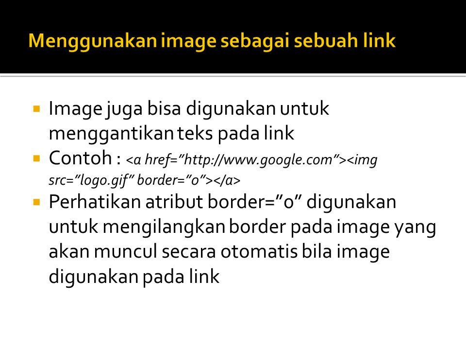 Menggunakan image sebagai sebuah link