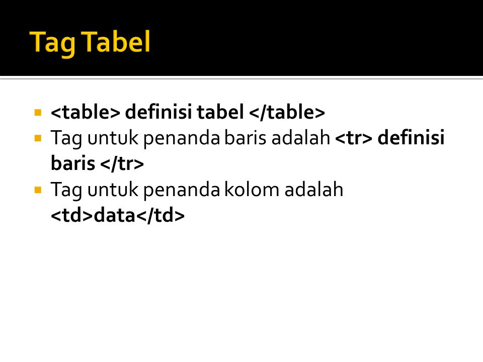 Tag Tabel <table> definisi tabel </table>