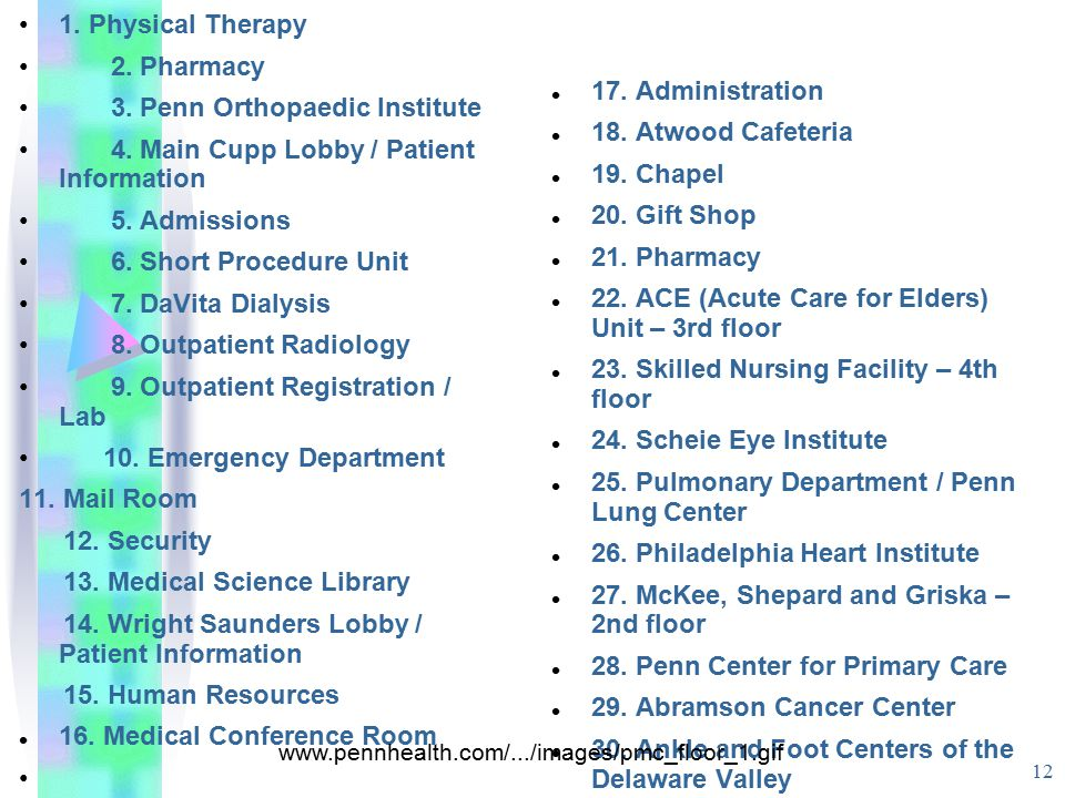 3. Penn Orthopaedic Institute 4. Main Cupp Lobby / Patient Information