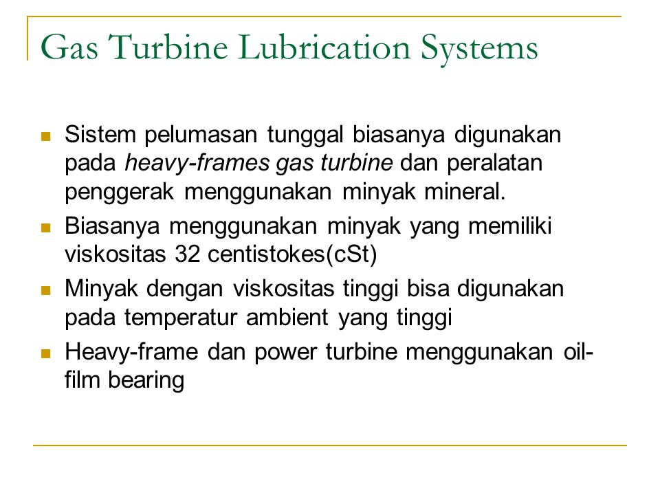 Gas Turbine Lubrication Systems