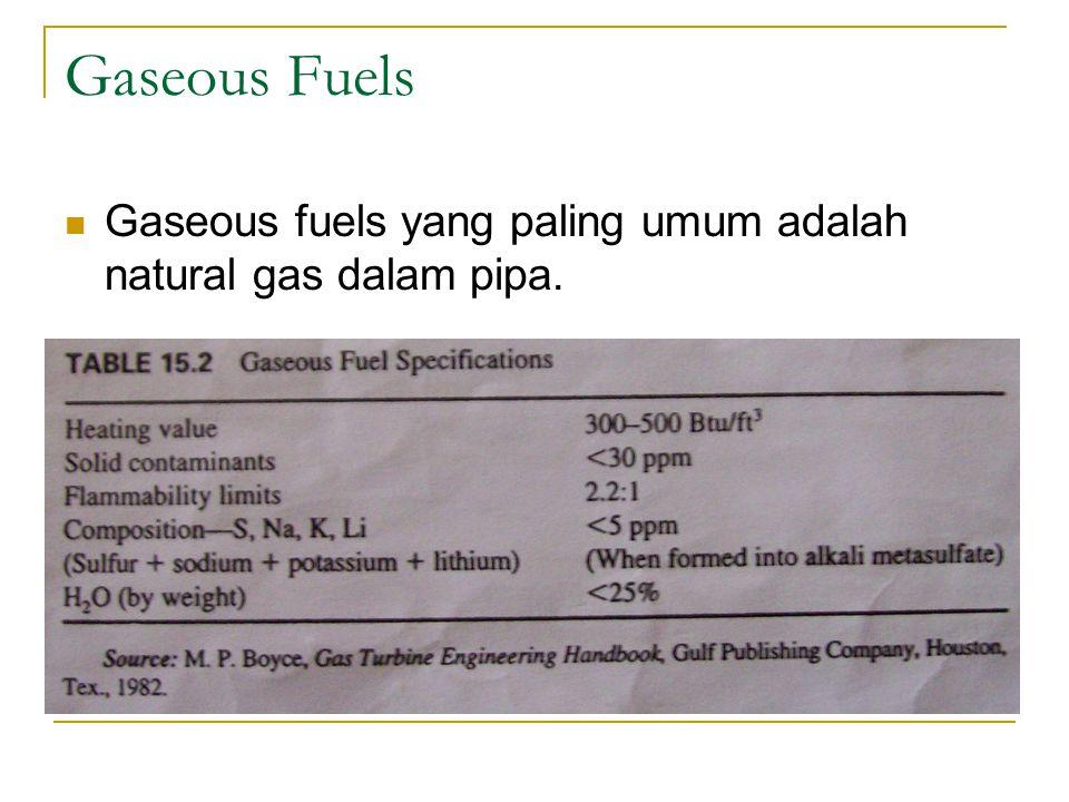 Gaseous Fuels Gaseous fuels yang paling umum adalah natural gas dalam pipa.