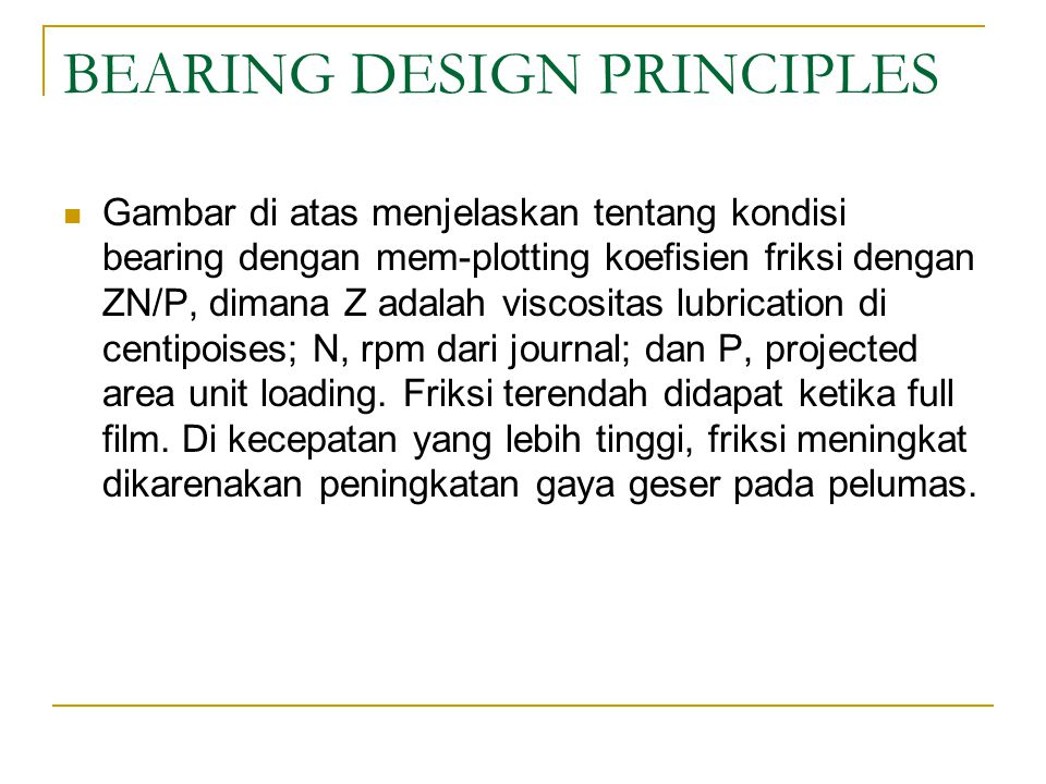 BEARING DESIGN PRINCIPLES