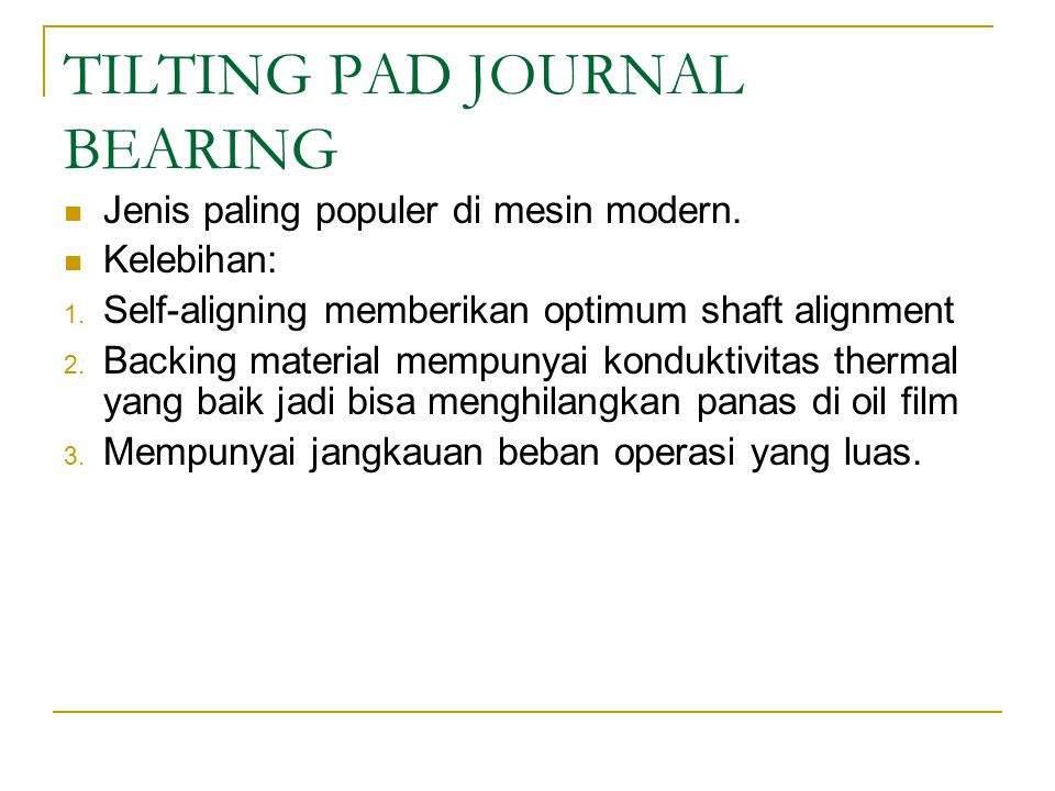 TILTING PAD JOURNAL BEARING
