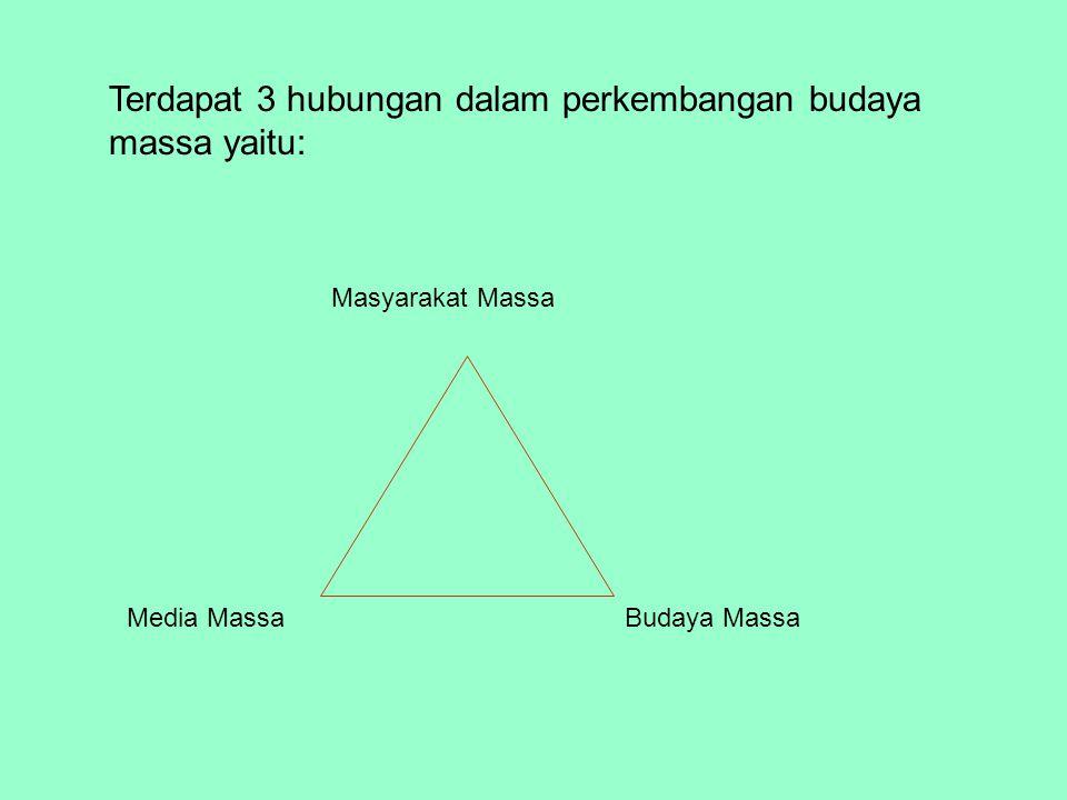 Terdapat 3 hubungan dalam perkembangan budaya massa yaitu: