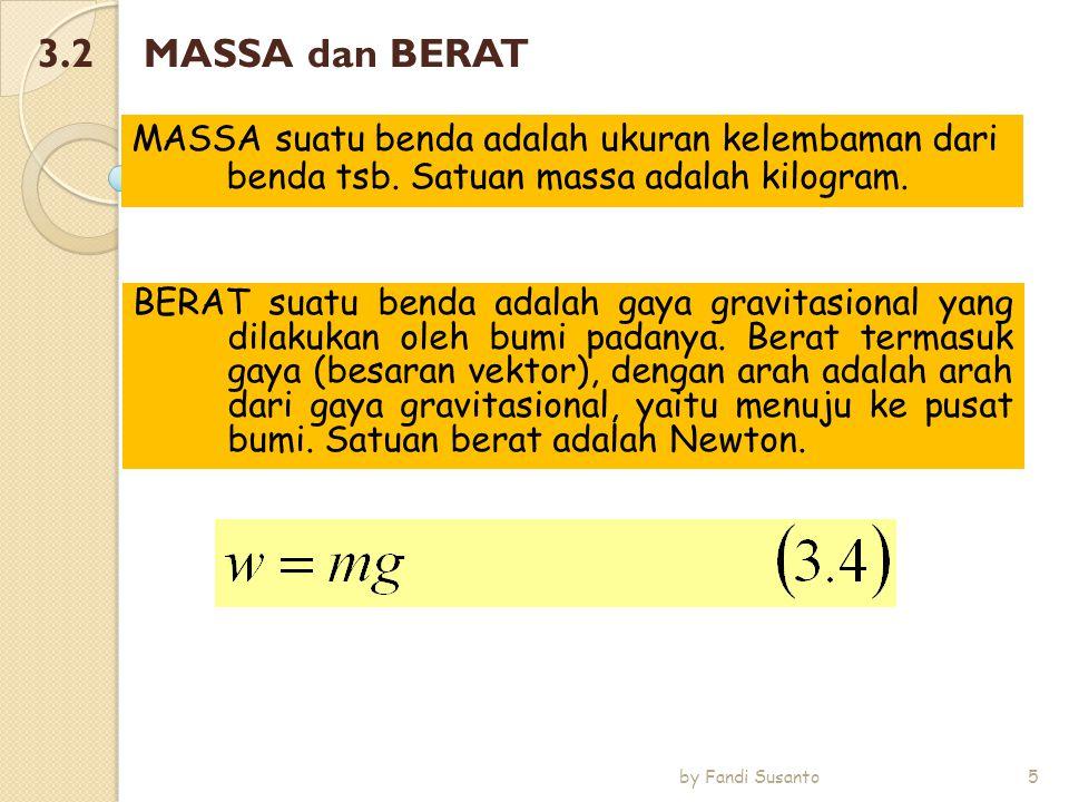 3.2 MASSA dan BERAT MASSA suatu benda adalah ukuran kelembaman dari benda tsb. Satuan massa adalah kilogram.