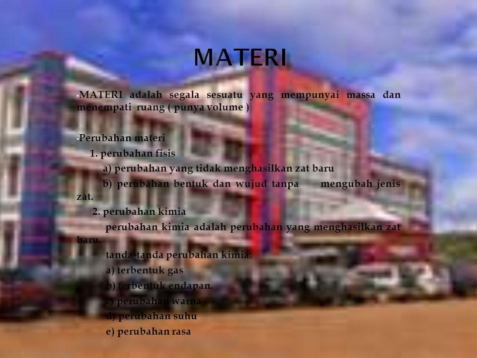 MATERI MATERI adalah segala sesuatu yang mempunyai massa dan menempati ruang ( punya volume ) Perubahan materi.