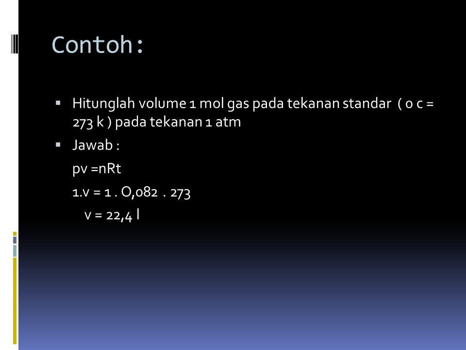 Contoh: Hitunglah volume 1 mol gas pada tekanan standar ( 0 c = 273 k ) pada tekanan 1 atm. Jawab :