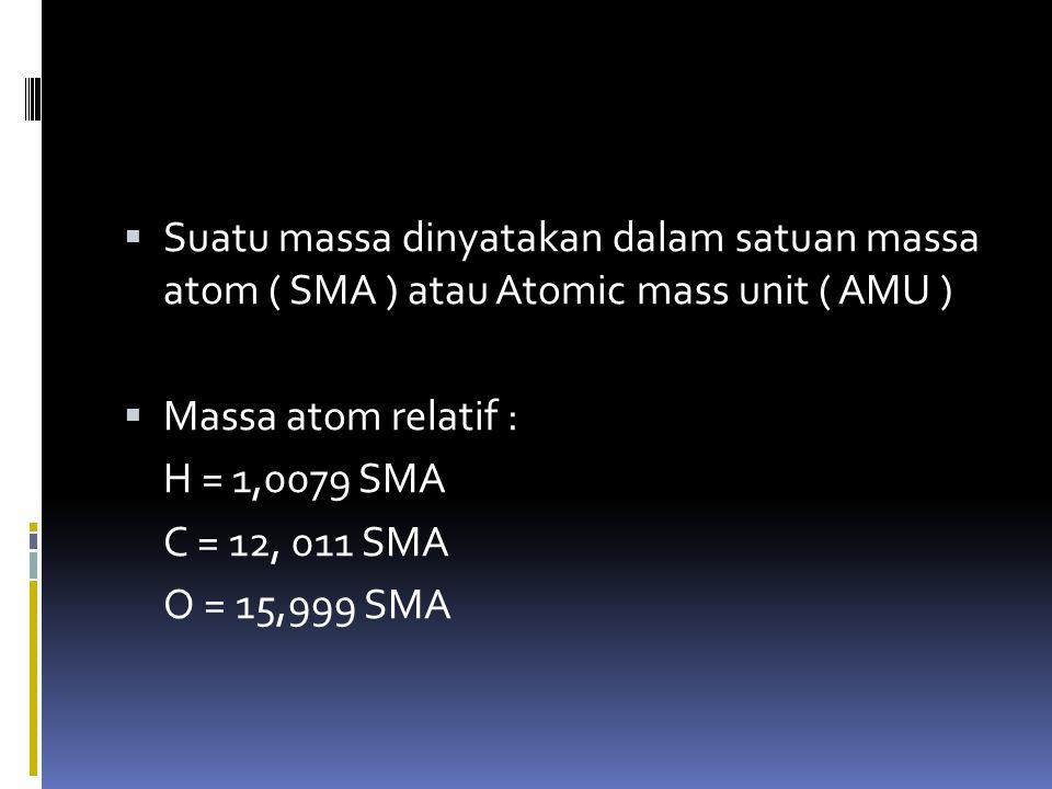 Suatu massa dinyatakan dalam satuan massa atom ( SMA ) atau Atomic mass unit ( AMU )