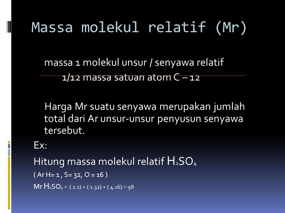 Massa molekul relatif (Mr)