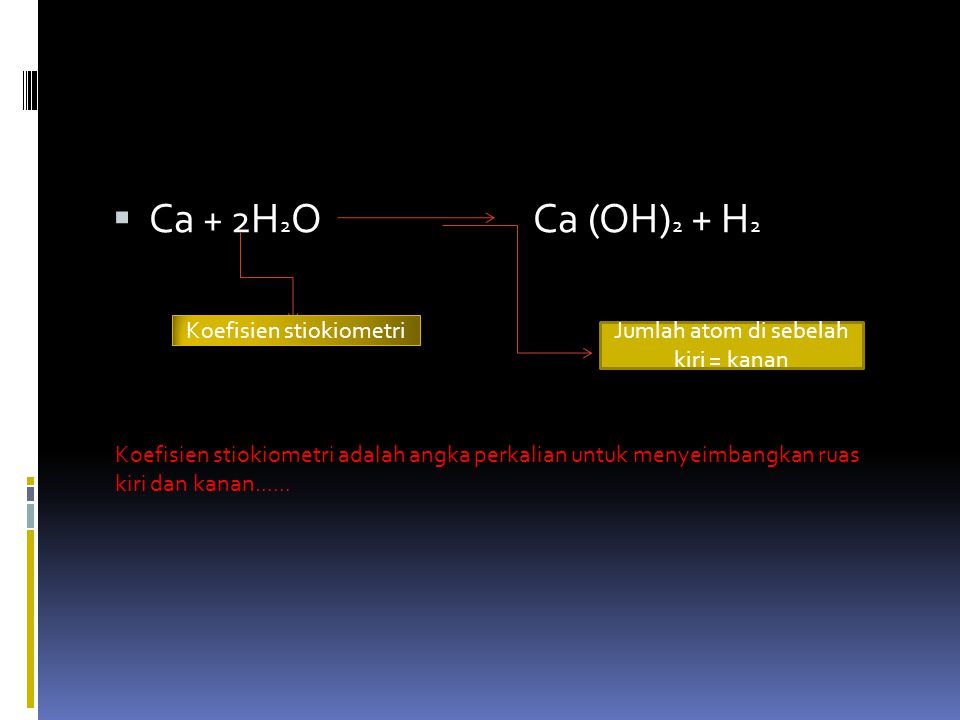 Ca + 2H2O Ca (OH)2 + H2 Koefisien stiokiometri