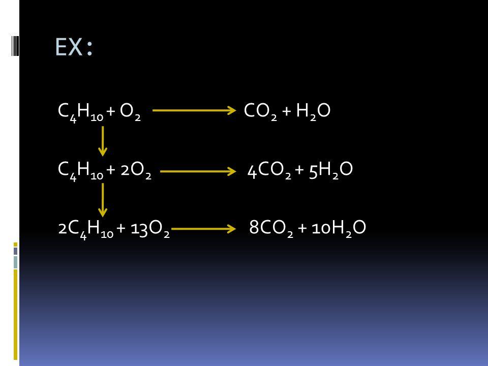 EX: C4H10 + O2 CO2 + H2O C4H10 + 2O2 4CO2 + 5H2O 2C4H10 + 13O2 8CO2 + 10H2O