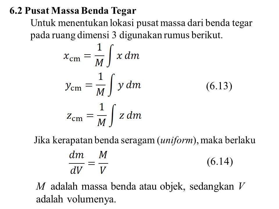 M adalah massa benda atau objek, sedangkan V adalah volumenya.