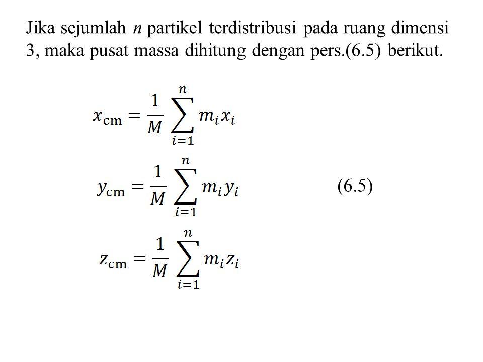 Jika sejumlah n partikel terdistribusi pada ruang dimensi 3, maka pusat massa dihitung dengan pers.(6.5) berikut.