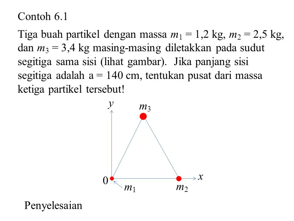  Contoh 6.1 Tiga buah partikel dengan massa m1 = 1,2 kg, m2 = 2,5 kg,