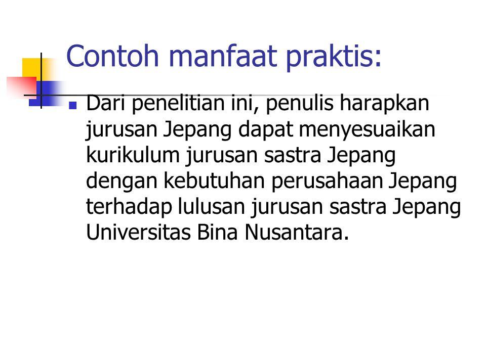 Contoh manfaat praktis: