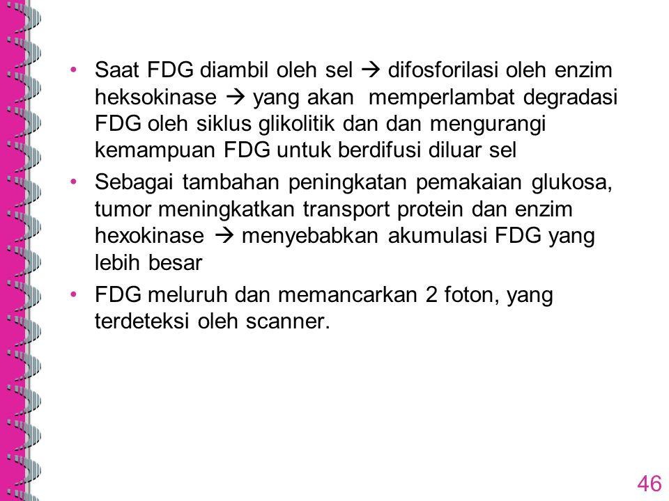Saat FDG diambil oleh sel  difosforilasi oleh enzim heksokinase  yang akan memperlambat degradasi FDG oleh siklus glikolitik dan dan mengurangi kemampuan FDG untuk berdifusi diluar sel
