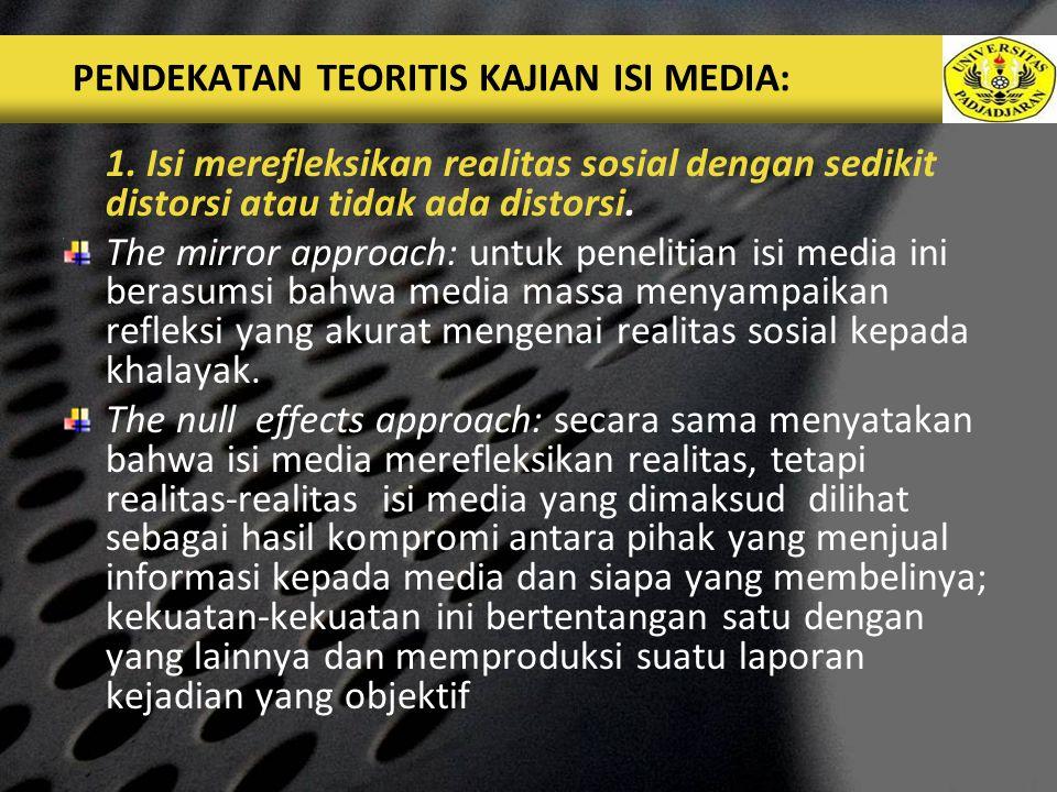 PENDEKATAN TEORITIS KAJIAN ISI MEDIA: