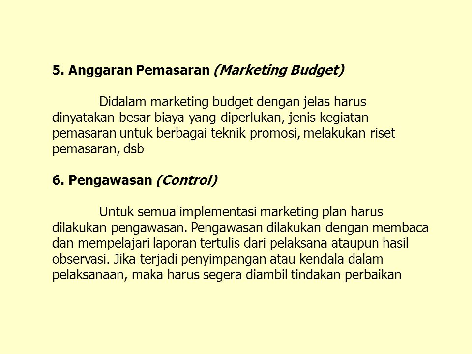 5. Anggaran Pemasaran (Marketing Budget)