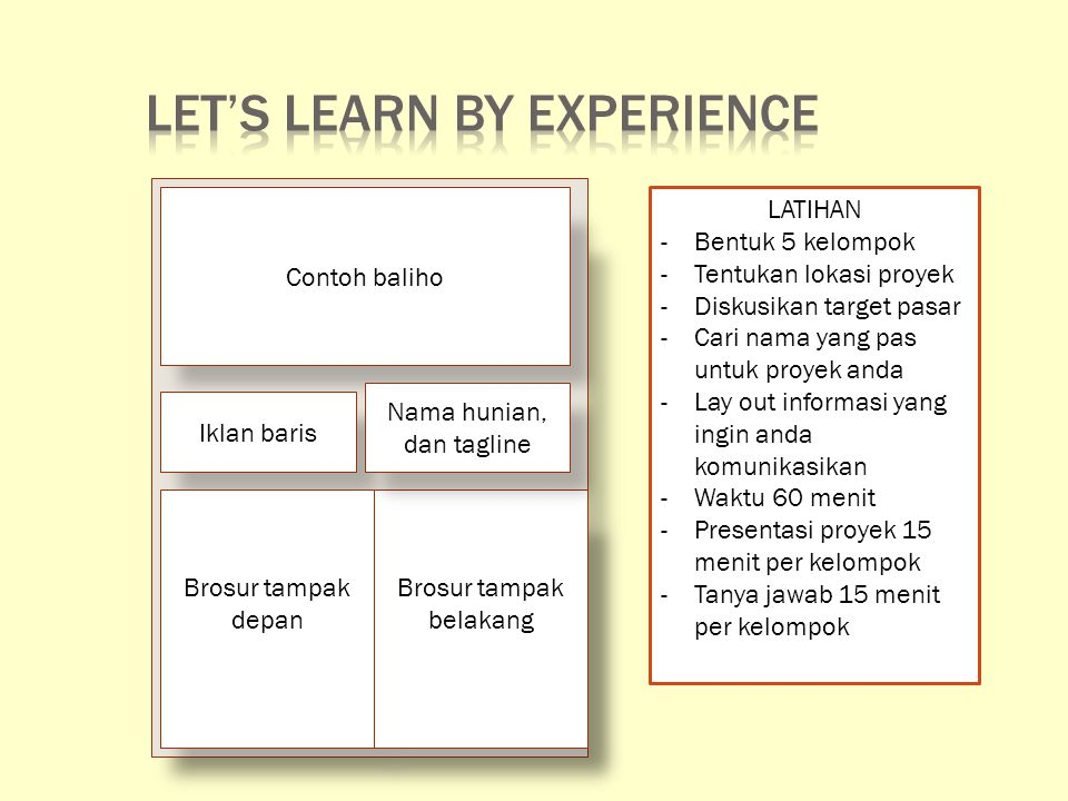Let's learn by experience