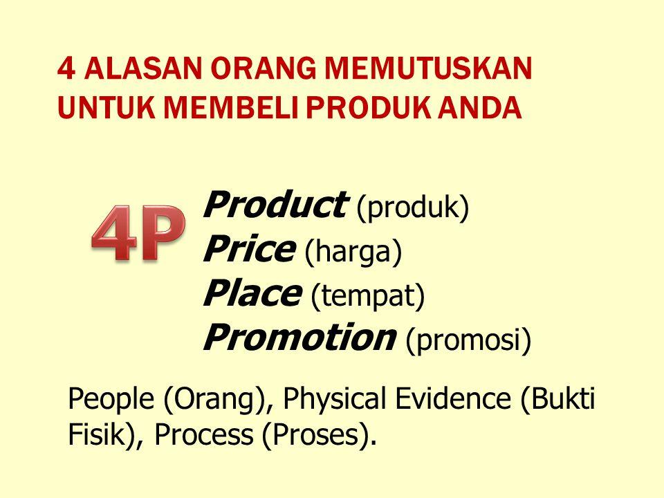 4P Product (produk) Price (harga) Place (tempat) Promotion (promosi)