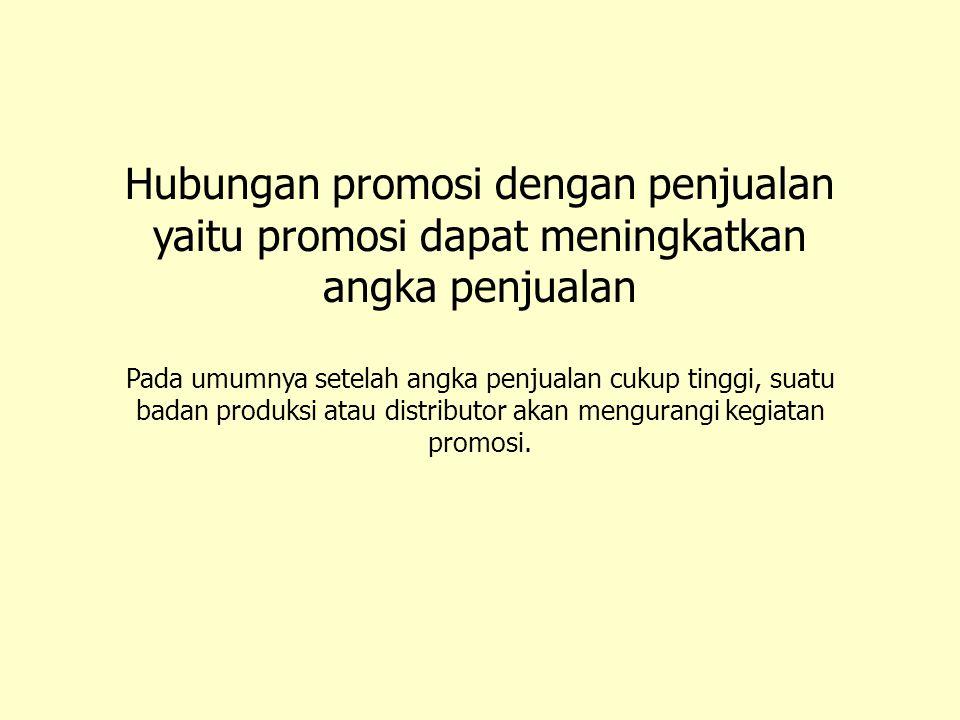 Hubungan promosi dengan penjualan yaitu promosi dapat meningkatkan angka penjualan
