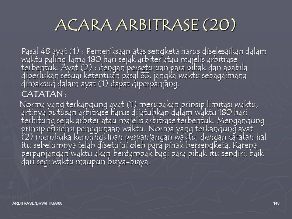 ACARA ARBITRASE (20) CATATAN :