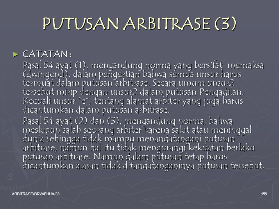 PUTUSAN ARBITRASE (3) CATATAN :