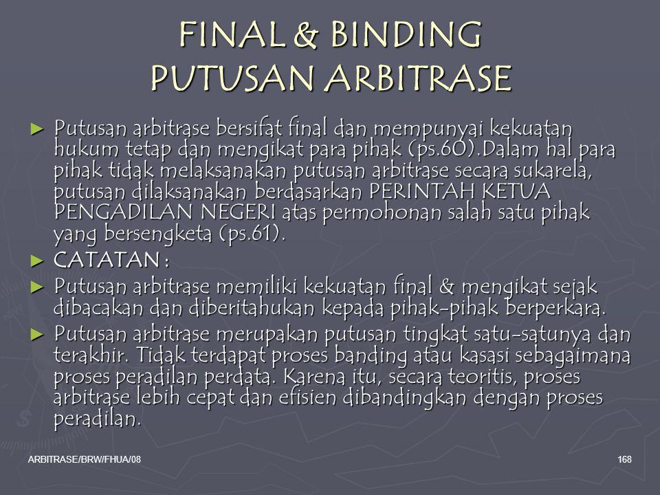 FINAL & BINDING PUTUSAN ARBITRASE